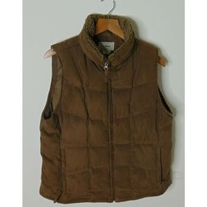 LL Bean Large Down Puffer Vest Fur Trim Brown